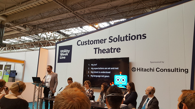 Photograph of Jonathan Seal speaking at Utility Week Live