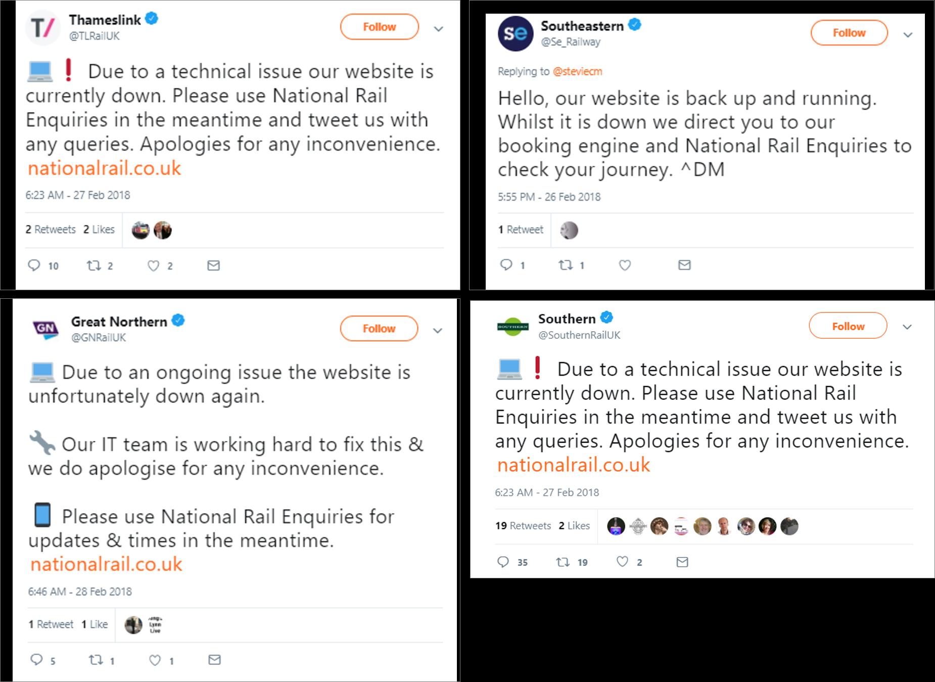tweets of rail company website down